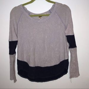Free People blue distressed patch top